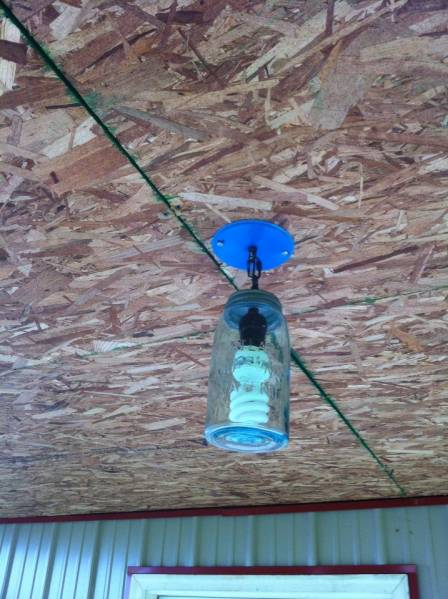 Back Porch Fixtures, Recycled Blue Mason Jars