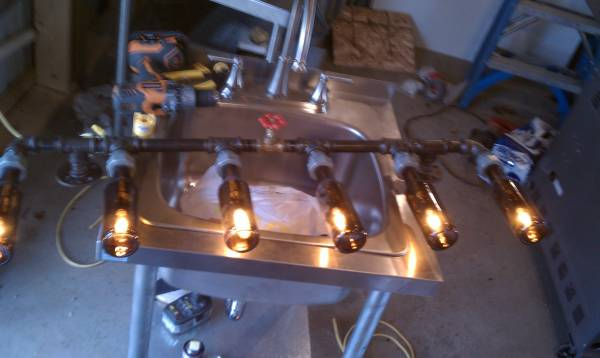 Home Made Beer Bottle Pipe Light With on/off Valve